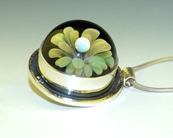 Sterling Silver Cage, Glass Planet Pendant, Fumed Floral Implosion, Opal - flamework, handmade (#533)