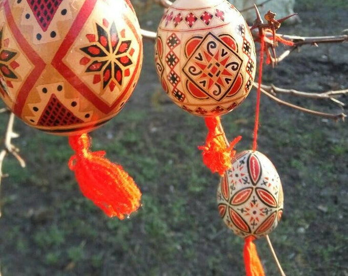 Traditional Ukrainian Pysanka - an Easter egg on brown eggshell