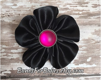 Black and Hot Pink Satin Flower Hair Clip, Girls Pink and Black Hair Bow, Toddler Barrette, Pigtail Hair Clip, Flower Girl, Alligator Clip