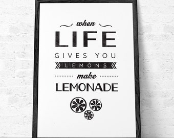 When life gives you lemons print. Mothers day gift kitchen print lemons poster kitchen poster Mothers gift quote print typography print