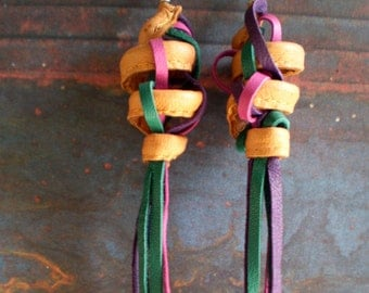 Leather Earrings... Multi Coloured Tassels...in  Recycled Leather.
