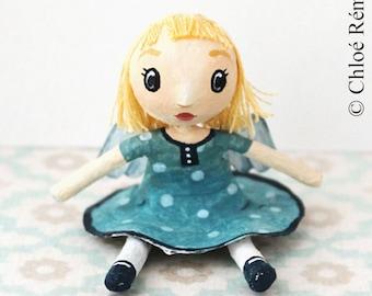 Mini doll Angel in blue polka dot dress
