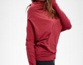 Red Top/ Oversized Long Sleeved Blouse/ Ruby Bat Top/ Loose Top by Arya Sense/ BATD16RD