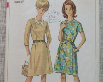 Collarless Dress with Soft Pleats and Pockets with Tie Belt Size 40 Bust 42 Complete 1960s Vintage Simplicity Sewing Pattern 6892