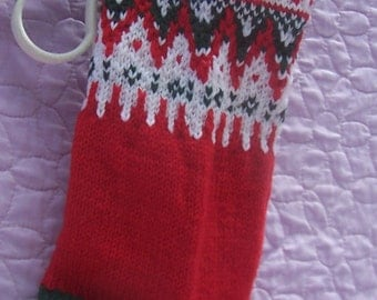 Handknit Christmas stocking, Red patterned stocking, Red green white stocking, Christmas colors stocking, Multi color stocking