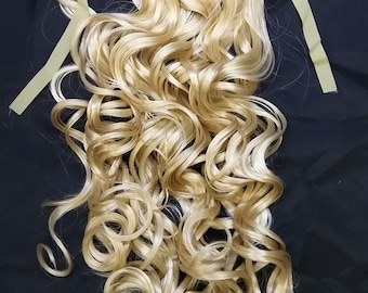 Blonde Mix Long Curly Wavy  clip on Ponytail hair extension Cosplay Custome Party Carnival Cheerleader x 1 piece New Halloween