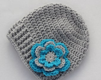 Baby hat, crochet baby hat, baby girl hat, grey and turquoise, girl hat, infant hat, crochet beanie, baby beanie - MADE TO ORDER