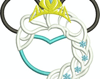 Character Inspired Ice Queen, Snow Queen Minnie Mouse Head Applique, Embroidery Design Machine Embroidery Design 138