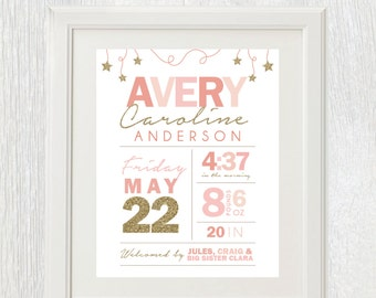 Printable nursery art - Birth stats - Twinkle little start baby birth announcement - Pink and gold glitter - Shower gift - Customizable