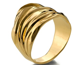 18k Yellow Gold Ring ,Handmade, Wide Ring , Wide Wedding Ring , Wide Wedding Band,Golden Rag, Recycled gold, Organic, Natural, gr4