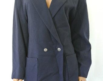 Fendi Wool Blazer Navy Blue Vintage L/XL