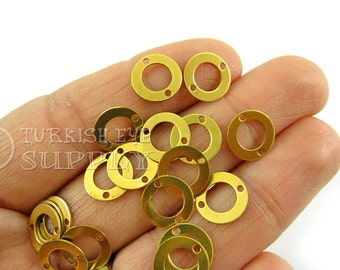 100 Raw Brass Round Connector Charms, 10mm Loop Connector Findings, Raw Brass Findings