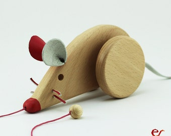 Wooden Toy, Eco Friendly Personalized Pull Toy, Pink Female Mouse