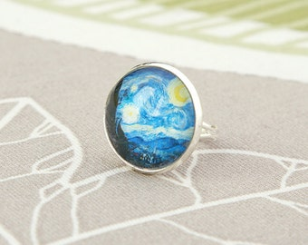 Vincent Van Gogh painting ring adjustable Starry night Moon blue round art