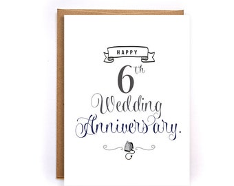 6th anniversary card, iron anniversary card for him, cute handmade greeting cards for husband, iron anniversary gift for him GC51