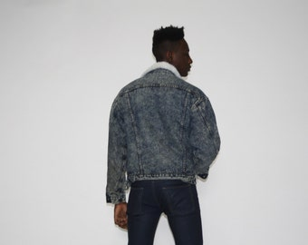 Vintage 1980s Levis Light Wash Denim Men's Bomber Denim Jacket - Vintage Jean Bomber Jacket - Vintage Levis Jacket - MO0420