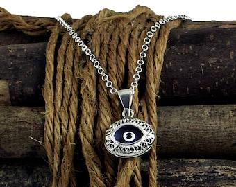 Blue Evil Eye Necklace, Silver Evil Eye Pendant Necklace, Filigree Eye Charm Necklace, Eye Jewellery, Hamsa, Nazar, Mati necklace