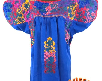 San Antonio Embroidered Mexican Blouse - Royal Blue w/Multi-Embroidery