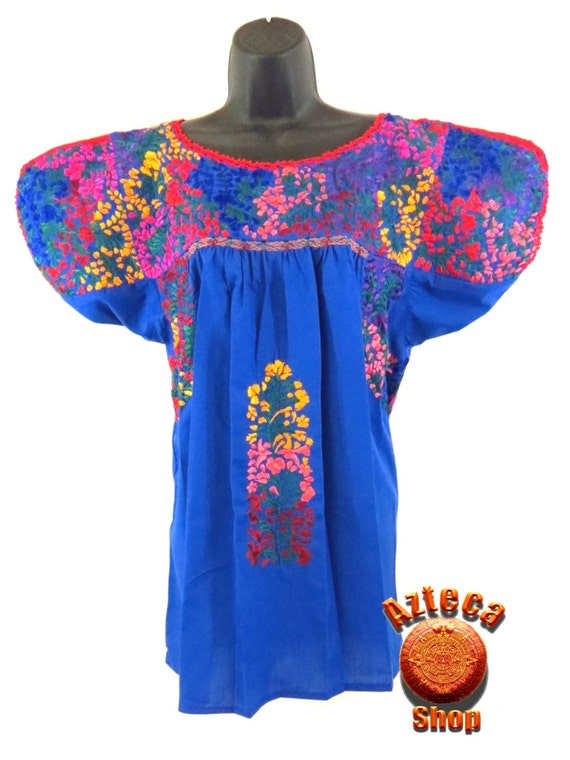 San antonio embroidered mexican blouse royal blue by