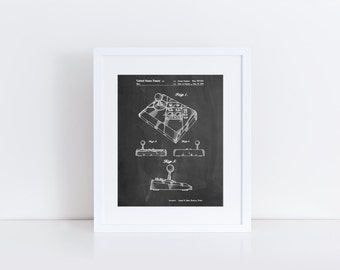 Nintendo Joystick Patent Poster, NES Advantage Joystick, Nintendo Decor, Gamer Gift, Game Room Wall Art,  PP0374