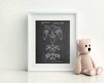 Nintendo 64 Controller Patent Poster, Game Controller Blueprint, Nintendo Art, Nintendo Poster, PP0086 Z1016