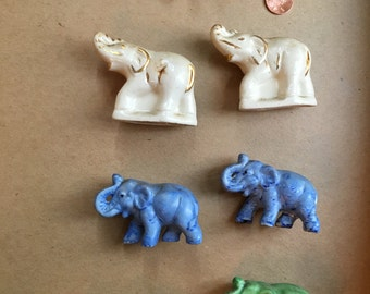Multicolored Elephant Figurines (Set of 7)