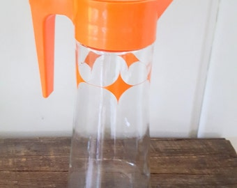 S Anchor Hocking Coffee Pitcher Orange Plastic Top