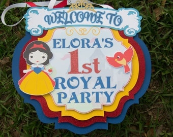 Princess Birthday Door Sign, Snow White Inspired