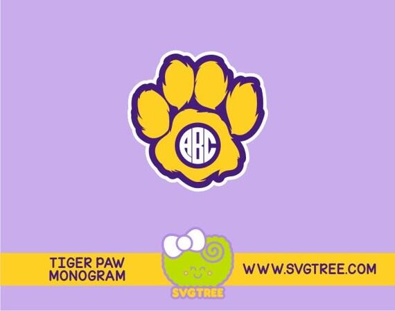 Paw Prints Monogram Svg: Tiger Paw Paw Print Monogram College Tigers SVG Files By