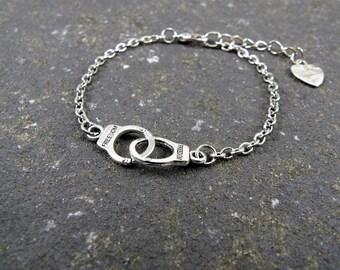 Handcuffs Bracelet, Partners in Crime, Layering Bracelet, Friendship Bracelet, Best Friends Bracelet Bff Bracelet Love Bracelet Gift for her
