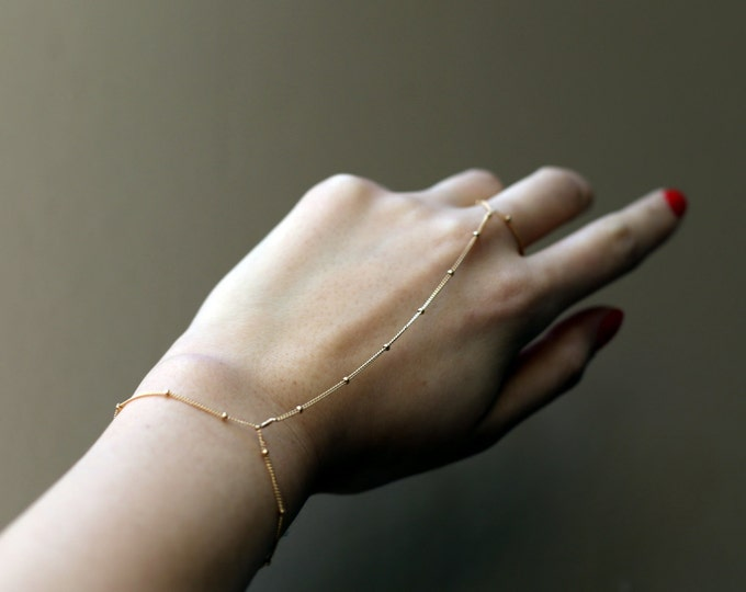 Slave Bracelet - Satellite Hand Chain Bracelets in 14K Gold filled and Sterling silver EB016