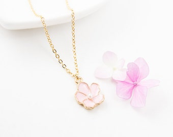 Cherry blossom necklace, pearl necklace, bridesmaid necklace, friendship necklace, cute necklace, bridesmaid gift, wedding jewelry