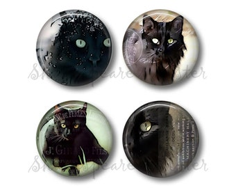 Black Cat Art - Fridge Magnets - Cat Magnets - 4 Magnets - 1.5 Inch Magnets - Kitchen Magnets