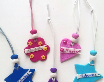 Personalized bag tags, school bags, instrument cases, gym bags, party favors, polymer clay  (set of 5)