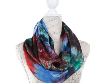 Trendy infinity scarf for women / Multi color Infinity silk scarf / Multicolor silk circle scarf/ multicolor loop scarf scarf