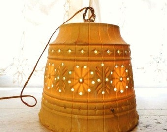 Lawnware Vintage RV Camping Patio Deck Hanging LIGHT-Party Lantern-Electric Light-Works!-Cool Retro Handmade Light-Orphaned Treasure-081516C