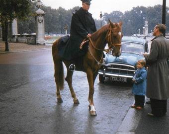 Vintage Red Border Kodachrome Slide..Near Buckingham Palace 1950's, Original 35mm Photo Slide, Vernacular Photography, Social History Photo