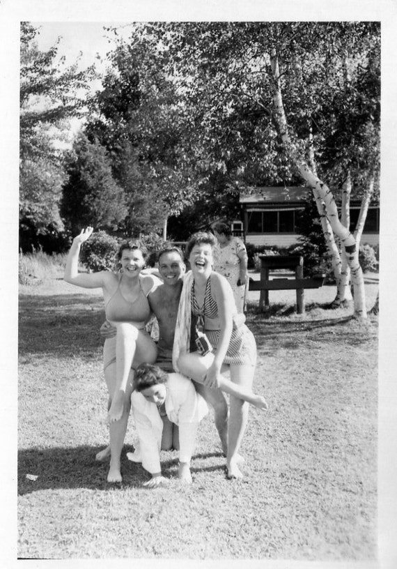Vintage Photo..Wild and Crazy Friends 1950's, Original Photo, Old Photo Snapshot, Vernacular Photography, American Social History Photo