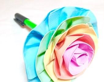 Duct Tape Flower Pen - Pastel Rainbow