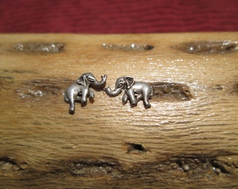 Tiny Sterling Elephant Stud Earrings