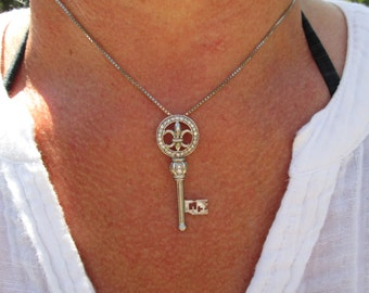 Sterling Silver Key Necklace