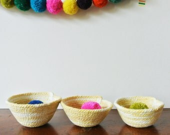 Naturally dyed mini bowls made from cotton cord, set of 3