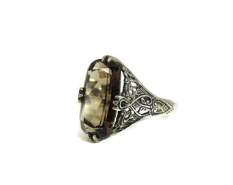 Vintage Deco Style Filigree Smoky Quartz Ring Sterling Silver