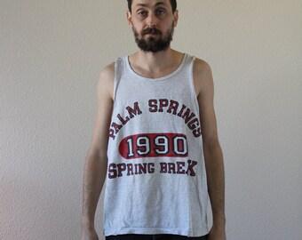 Spring Break 1990 Distressed Palm Spring Tank Top Mens Large
