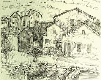 "Small harbour - marina - Original Handmade Ink Drawing, Black ink on Paper, Size: 8.2"" x 11.7"" (A4, 21x29cm)"