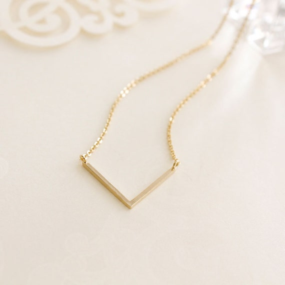 simple v charm dainty necklace silver gold minimal simple