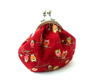 Rusty red frame purse owl on branch cotton fabric, silver kiss lock clasp brown red frame clutch bag frame pouch