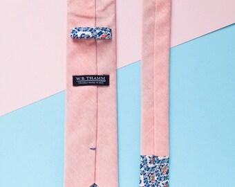 Beau Men's Skinny Necktie Classic point-end - Solid chambray orange Neck tie