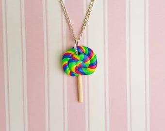 Rainbow Lollipop Necklace