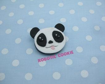 Panda Brooch Pin polymer clay